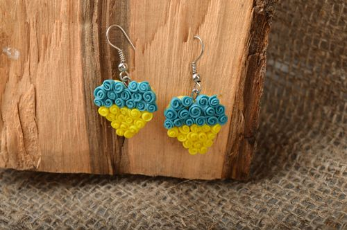 Handmade unusual bright earrings made of cold porcelain in shape of heart - MADEheart.com