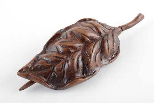 Hair jewelry Beautiful dark tinted wooden hair clip in the shape of leaf with stick handmade - MADEheart.com
