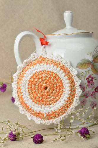 Unusual handmade pot holder homemade crochet potholder kitchen supplies - MADEheart.com