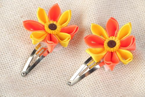 Set of handmade hairpins made using kanzashi technique bright accessories for children 2 pieces - MADEheart.com
