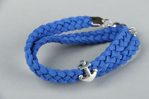 Leather bracelet with anchor pendant - MADEheart.com