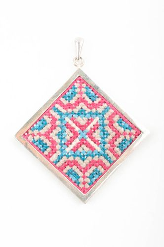 Handmade pendant with cross stitch silver frame beautiful gift pendant for women - MADEheart.com