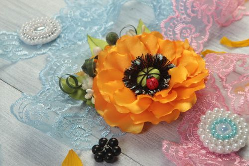 Bright handmade textile barrette hair clip flowers in hair fashion trends - MADEheart.com
