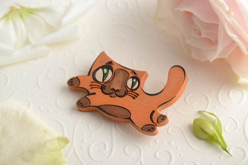 Handmade small funny plywood animal brooch painted with acrylics Red Cat - MADEheart.com