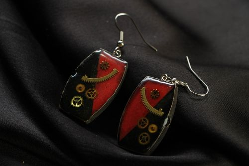 Steampunk earrings with mechanism - MADEheart.com