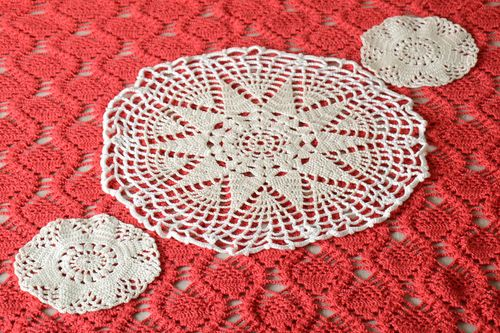 Handmade crocheted napkin table white napkins home decor kitchen ideas - MADEheart.com