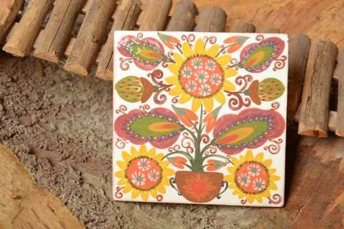 Ceramic handmade tile painted with engobes and glaze beautiful wall panel - MADEheart.com