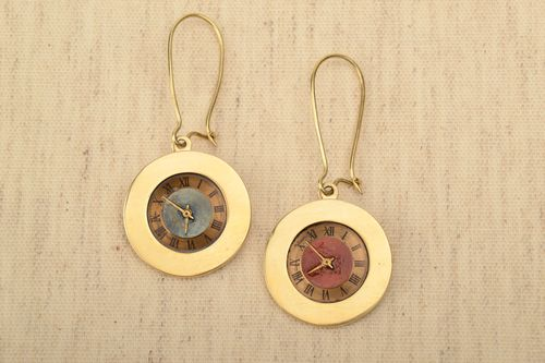 Handmade beautiful womens earrings made of metal in steampunk style designer accessory - MADEheart.com