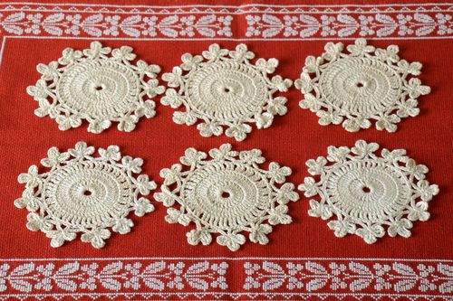 Crocheted decorative napkins 6 white small napkins home decor textile - MADEheart.com