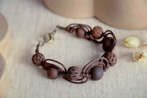 Handmade ceramic bracelet clay beaded bracelet eco friendly accessories - MADEheart.com