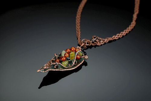 Pendant made of copper with carnelian Petal - MADEheart.com