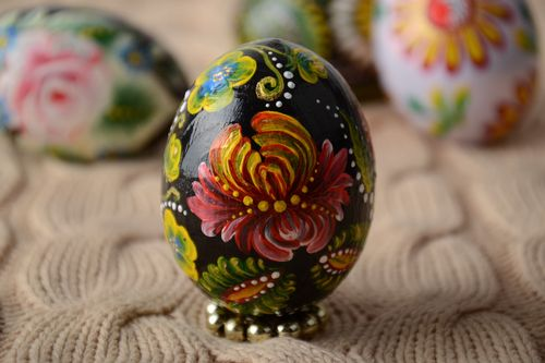 Handmade wooden Easter egg pysanka decorated with Petrikivka painting  - MADEheart.com