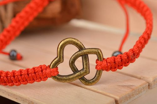 Beautiful red handmade designer friendship bracelet woven of silk threads - MADEheart.com