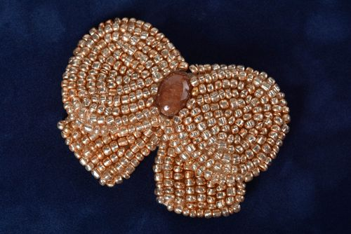 Stylish handmade beaded brooch jewelry woven brooch beadwork ideas gifts for her - MADEheart.com