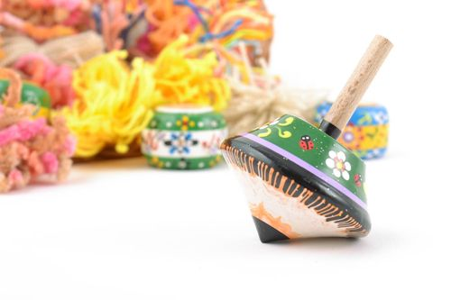 Small handmade painted wooden spinning top eco childrens toy - MADEheart.com