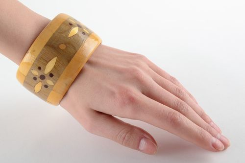 Wide light handmade wrist bracelet carved of wood with intarsia for women - MADEheart.com