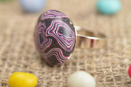 Handmade elegant round ring made of polymer clay in purple color - MADEheart.com