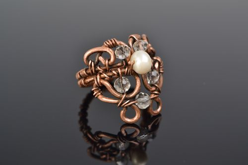 Handmade wire wrap copper ring with natural pearl and Czech crystal for women - MADEheart.com