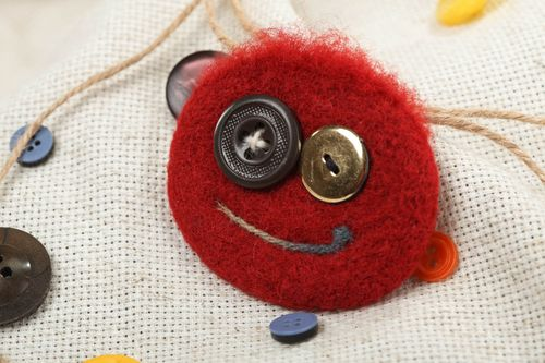 Brooch made of felted wool funny red round accessory with buttons hand made - MADEheart.com