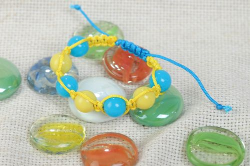 Handmade bracelet made of textile cords and plastic beads bright summer jewelry - MADEheart.com