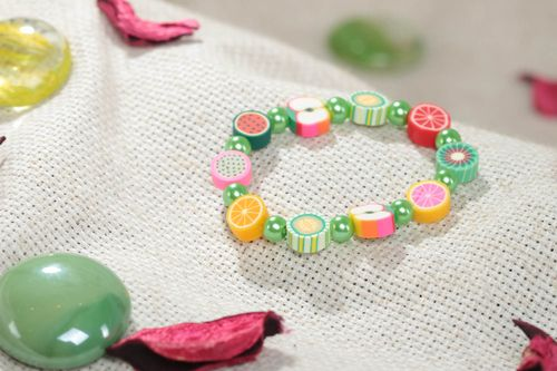 Bright colorful handmade polymer clay wrist bracelet for children stretchy - MADEheart.com