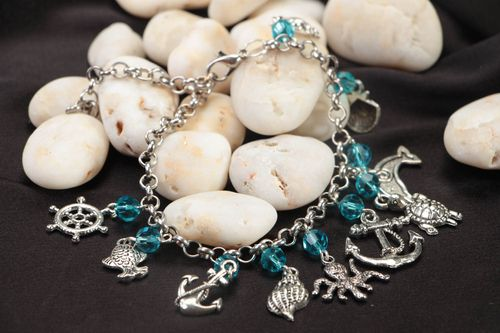 Handmade crystal bracelet accessory with metal charms stylish designer jewelry - MADEheart.com