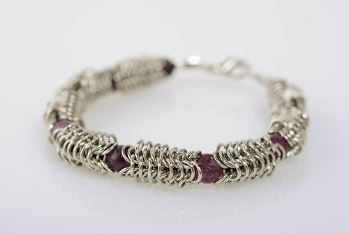 Handmade jewelry alloy bracelet chain mail weaving technique with amethyst - MADEheart.com