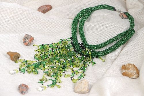 Handmade beaded necklace with natural cats eye stone in green color palette - MADEheart.com