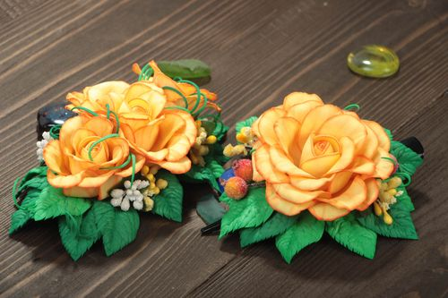 Set of 2 handmade textile barrettes foamiran hair clips fashion accessories - MADEheart.com