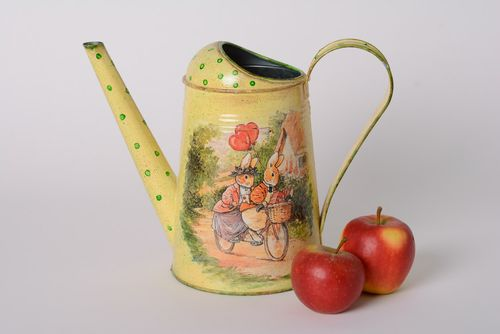 Handmade decoupage metal watering can with drawing - MADEheart.com