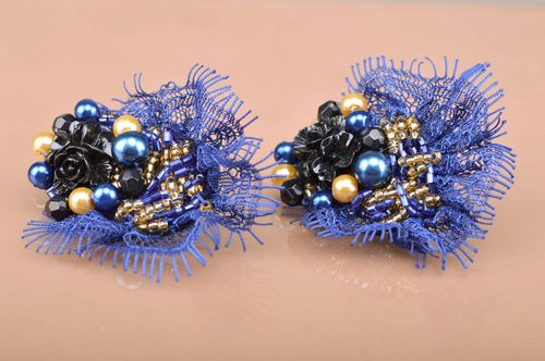 Handmade massive beaded stud earrings with lace in black and dark blue colors - MADEheart.com