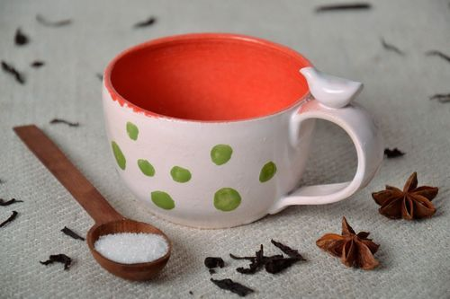 White cup with green dots - MADEheart.com