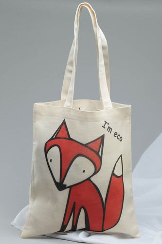 Beautiful homemade womens cotton fabric eco shoulder bag with painting Fox - MADEheart.com