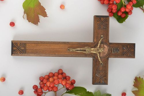 Wall hanging wooden cross handmade wall cross housewarming gift ideas wall decor - MADEheart.com