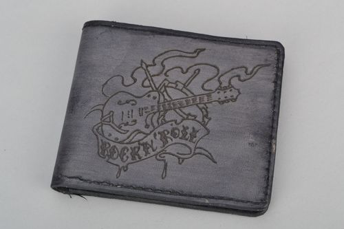 Mens leather wallet Rock&roll - MADEheart.com