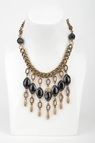 Handmade massive designer elegant metal chain necklace with large black beads - MADEheart.com