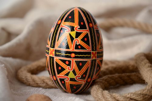 Handmade dark painted decorative goose egg with geometric ornaments Easter souvenir - MADEheart.com