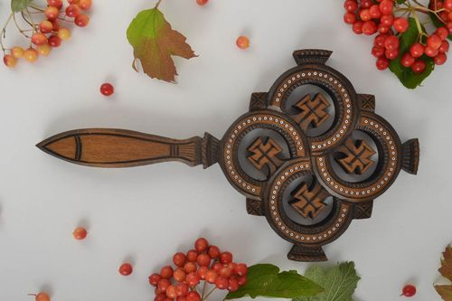 Handmade carved cross wooden wall decoration wooden interior crucifix  - MADEheart.com