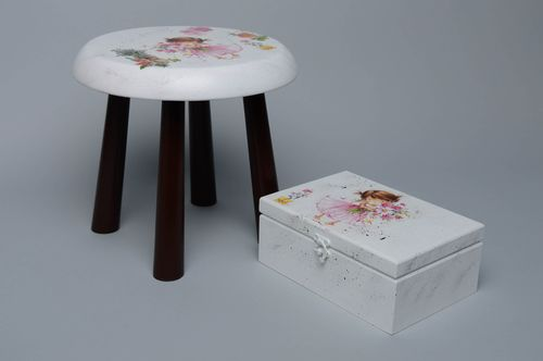 Decoupage wooden stool and jewelry box - MADEheart.com