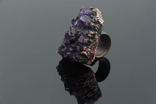Massive handmade designer open type copper ring with natural amethyst stone - MADEheart.com