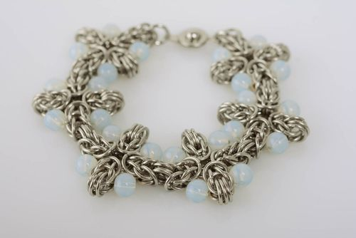 Handmade designer jewelry alloy bracelet chain mail weaving stylish accessory - MADEheart.com