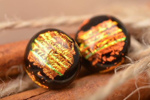 Beautiful handmade dichroic glass stud earrings of round shape Polar Lights - MADEheart.com