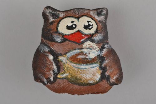 Beautiful handmade flavored textile soft fridge magnet toy Owl - MADEheart.com