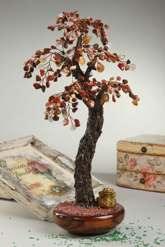 Tree with natural stones handmade beaded tree table decor decorative use only - MADEheart.com