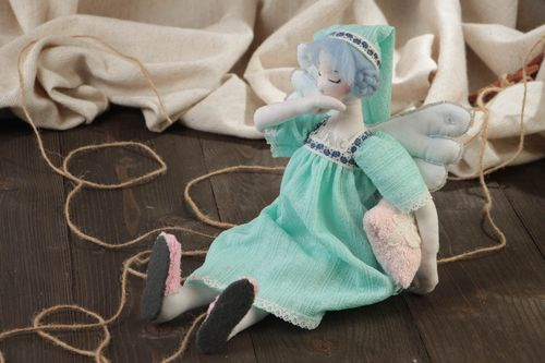 Handmade designer cotton fabric soft toy sleepy angel in blue dress and hat - MADEheart.com
