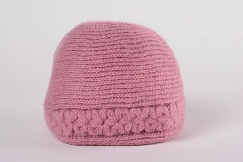 Handmade warm womens hat knitted of woolen threads of dark pink color - MADEheart.com