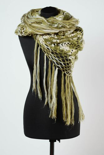 Handmade warm lace womens shawl knitted of white and green woolen threads - MADEheart.com