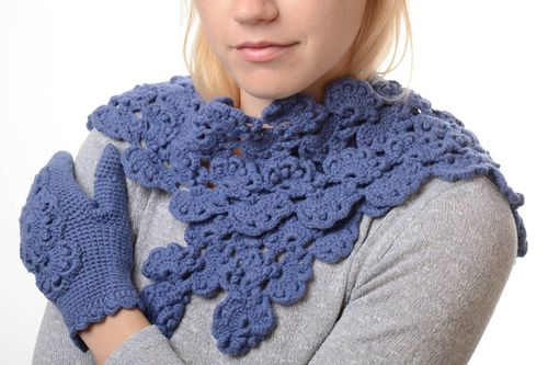 Handmade winter set stylish warm scarf and mittens blue openwork clothes - MADEheart.com