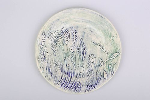 Beautiful handmade ceramic plate ornamented clay plate designer dishware - MADEheart.com