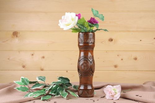 12 inches brown wooden tube shape vase for home décor 1,36 lb - MADEheart.com